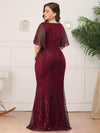 V-Neck Bodycon Shiny Wholesale Sequin Dresses With Flutter Sleeves-Burgundy 7