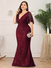 V-Neck Bodycon Shiny Wholesale Sequin Dresses With Flutter Sleeves-Burgundy 8