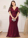 V-Neck Bodycon Shiny Wholesale Sequin Dresses With Flutter Sleeves-Burgundy 9