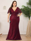 V-Neck Bodycon Shiny Wholesale Sequin Dresses With Flutter Sleeves-Burgundy 6