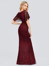 V-Neck Bodycon Shiny Wholesale Sequin Dresses With Flutter Sleeves-Burgundy 2