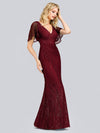 V-Neck Bodycon Shiny Wholesale Sequin Dresses With Flutter Sleeves-Burgundy 3