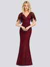 V-Neck Bodycon Shiny Wholesale Sequin Dresses With Flutter Sleeves-Burgundy 4