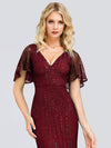 V-Neck Bodycon Shiny Wholesale Sequin Dresses With Flutter Sleeves-Burgundy 5
