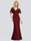 V-Neck Bodycon Shiny Wholesale Sequin Dresses With Flutter Sleeves-Burgundy 1
