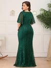 V-Neck Bodycon Shiny Wholesale Sequin Dresses With Flutter Sleeves-Dark Green 12