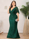 V-Neck Bodycon Shiny Wholesale Sequin Dresses With Flutter Sleeves-Dark Green 13