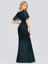 V-Neck Bodycon Shiny Wholesale Sequin Dresses With Flutter Sleeves-Dusty Navy 2