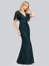 V-Neck Bodycon Shiny Wholesale Sequin Dresses With Flutter Sleeves-Dusty Navy 3