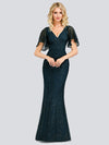 V-Neck Bodycon Shiny Wholesale Sequin Dresses With Flutter Sleeves-Dusty Navy 4