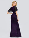 V-Neck Bodycon Shiny Wholesale Sequin Dresses With Flutter Sleeves-Dark Purple 2