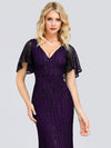 V-Neck Bodycon Shiny Wholesale Sequin Dresses With Flutter Sleeves-Dark Purple 5