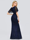 V-Neck Bodycon Shiny Wholesale Sequin Dresses With Flutter Sleeves-Navy Blue 2