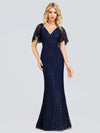 V-Neck Bodycon Shiny Wholesale Sequin Dresses With Flutter Sleeves-Navy Blue 1