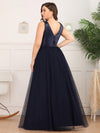 Plus Size Women'S V-Neck Sequins Dress Patchwork Evening Party Dress Ep00849-Navy Blue 2