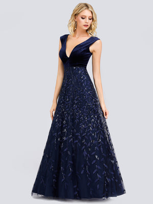 Ever-Pretty Women's Double V-Neck Velvet Patchwork Evening Dress EP00851