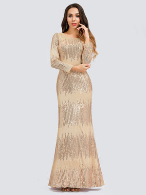 Ever-Pretty Long Sleeve Shiny Sequin Party Dresses EP00852