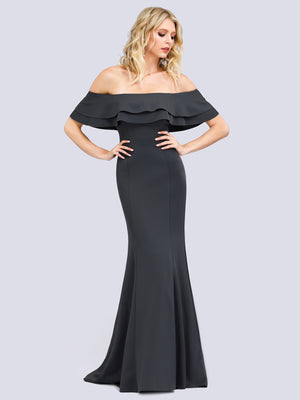Ever-Pretty Women Off Shoulder Fishtail Lotus Leaf Evening Dresses with Short Sleeve EP00853