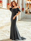 Women Off Shoulder Fishtail Lotus Leaf Evening Dresses With Short Sleeve Ep00853-Deep Grey 6