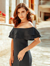 Women Off Shoulder Fishtail Lotus Leaf Evening Dresses With Short Sleeve Ep00853-Deep Grey 7