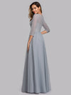 Women'S A-Line 3/4 Sleeve Floral Lace Floor Length Wedding  Dresses Ep00859-Grey 2