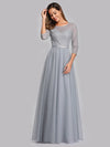 Women'S A-Line 3/4 Sleeve Floral Lace Floor Length Wedding  Dresses Ep00859-Grey 4
