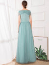 A-Line Off The Shoulder Sequin Evening Maxi Dresses For Women Ep00860-Dusty Blue 2
