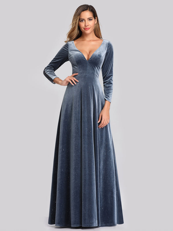 Ever-Pretty Women's V-Neck Long Sleeve Velvet Formal Dress Long Evening Dress EP00870