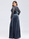 Women'S V-Neck Long Sleeve Velvet Long Evening Dresses Ep00870-Dusty Navy 7