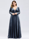 Women'S V-Neck Long Sleeve Velvet Long Evening Dresses Ep00870-Dusty Navy 6