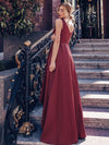 Women'S Deep V-Neck Sleeveless Maxi Dresses Ep00877-Burgundy 6