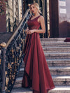 Women'S Deep V-Neck Sleeveless Maxi Dresses Ep00877-Burgundy 7