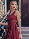 Women'S Deep V-Neck Sleeveless Maxi Dresses Ep00877-Burgundy 8