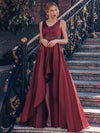 Women'S Deep V-Neck Sleeveless Maxi Dresses Ep00877-Burgundy 9