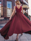 Women'S Deep V-Neck Sleeveless Maxi Dresses Ep00877-Burgundy 12