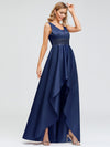 Women'S Deep V-Neck Sleeveless Maxi Dresses Ep00877-Navy Blue 3