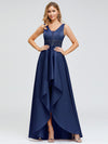 Women'S Deep V-Neck Sleeveless Maxi Dresses Ep00877-Navy Blue 4