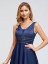 Women'S Deep V-Neck Sleeveless Maxi Dresses Ep00877-Navy Blue 5