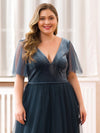 Women'S V-Neck Short Sleeve Floor Length Evening Dresses Ep00889-Dusty Navy 10