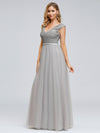 Women'S Elegant V-Neck Sequin Dresses Evening Gowns Ep00891-Grey 4