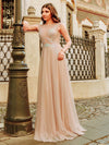 Women'S A-Line See-Through Cap Sleeve Evening Dresses Ep00902-Beige 4