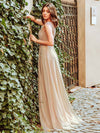 Women'S A-Line See-Through Cap Sleeve Evening Dresses Ep00902-Beige 8
