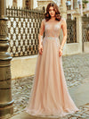 Women'S A-Line See-Through Cap Sleeve Evening Dresses Ep00902-Beige 11