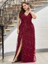 Plus Size Women'S V-Neck Embroidery Side Split Evening Party Maxi Dress-Burgundy 4