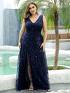 Plus Size Women'S V-Neck Embroidery Side Split Evening Party Maxi Dress-Navy Blue 4