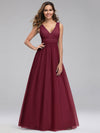 Ever-Pretty Women'S A-Line V-Neck Floor-Length Bridesmaid Dresses-Burgundy 1