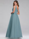 Ever-Pretty Women'S A-Line V-Neck Floor-Length Bridesmaid Dresses-Dusty Blue 2