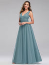 Ever-Pretty Women'S A-Line V-Neck Floor-Length Bridesmaid Dresses-Dusty Blue 3