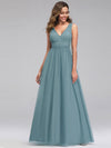 Ever-Pretty Women'S A-Line V-Neck Floor-Length Bridesmaid Dresses-Dusty Blue 4