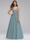 Ever-Pretty Women'S A-Line V-Neck Floor-Length Bridesmaid Dresses-Dusty Blue 1